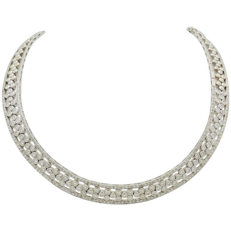 6.50 Carat Diamonds White Gold Choker Necklace