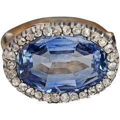 Antique 10 Carat Natural Ceylon Sapphire Diamond Gold Ring