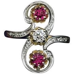 Belle Époque Antique Diamond Ruby Scroll Ring