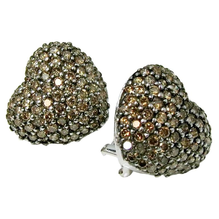 3 Carat Cognac Pave Diamond Heart Shaped Earrings 1