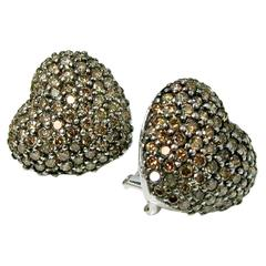 3 Carat Cognac Pave Diamond Heart Shaped Earrings