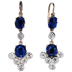 Antique Russian Sapphire and Diamond Dangle Earrings