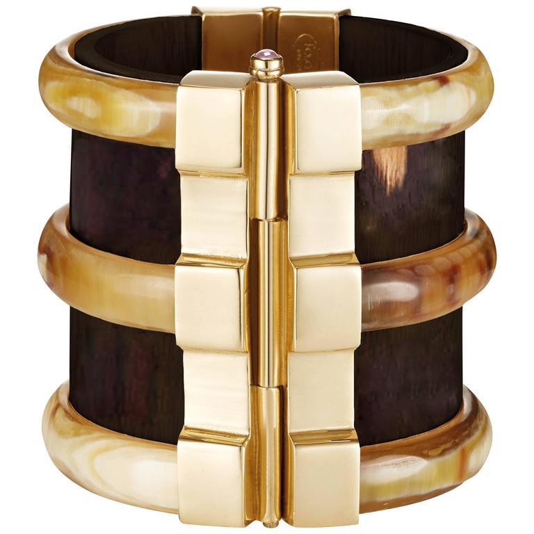Fouche Cuff Bracelet Bespoke Diana Vreeland Horn Emerald Wood Gold