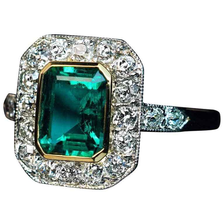 Antique Edwardian Era Emerald Diamond Engagement Ring For Sale at 1stdibs