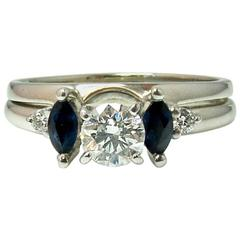 Blue Sapphire Diamond White Gold Wedding Set