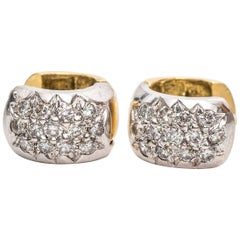 1960s Micropave Diamond Two Color Gold Earrings