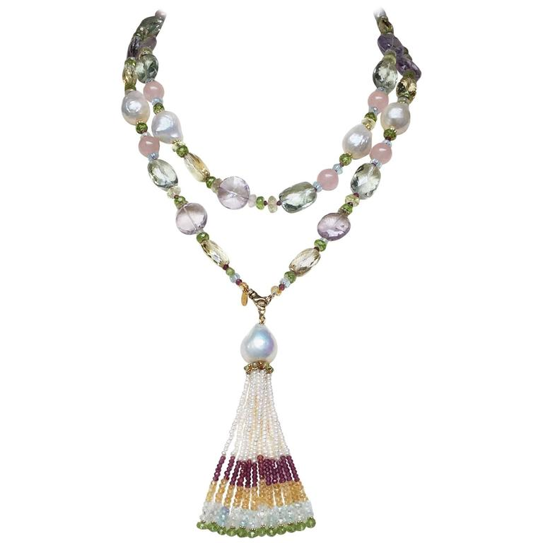 Marina J Multi-Color Gems Pearls Yellow Gold Sautoir Necklace and Tassel