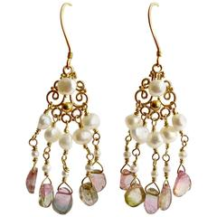 Afghan Watermelon Tourmaline Slices Pearls Chandelier Earrings