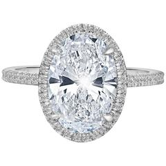 Marisa Perry's 2.34 Oval Brilliant Engagement Ring with Micro-Pave in Platinum