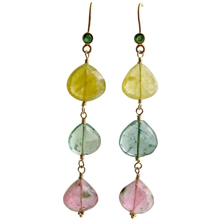Emerald Pastel Afghan Tourmaline Gold Cascading Hearts Earrings 1