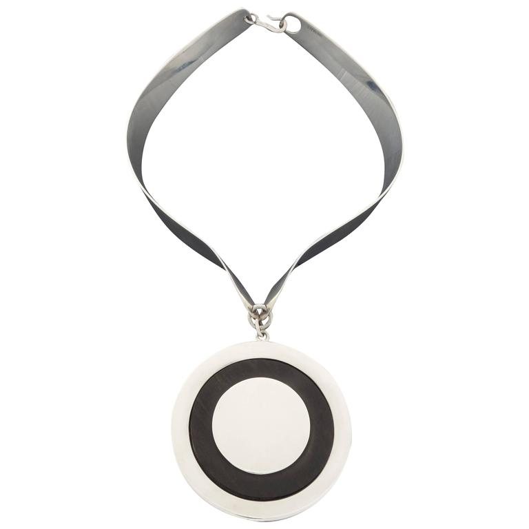 1960s J.M. Puig-Doria Modernist Ebony Silver Pendant Necklace For Sale
