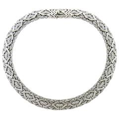 "Bvlgari Diamond 18 Karat White Gold ""Trika"" Necklace"