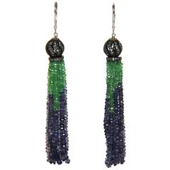 Marina J Emerald Iolite Diamond White Gold Tassel Earrings