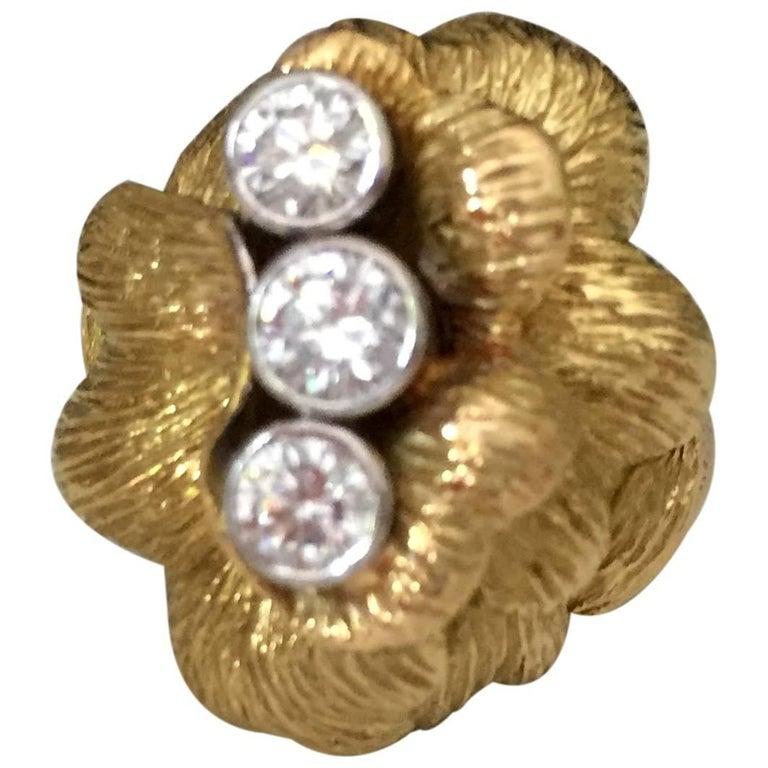 Circa 1970 Ilias Lalaounis 18 Karat Gold Cocktail Ring