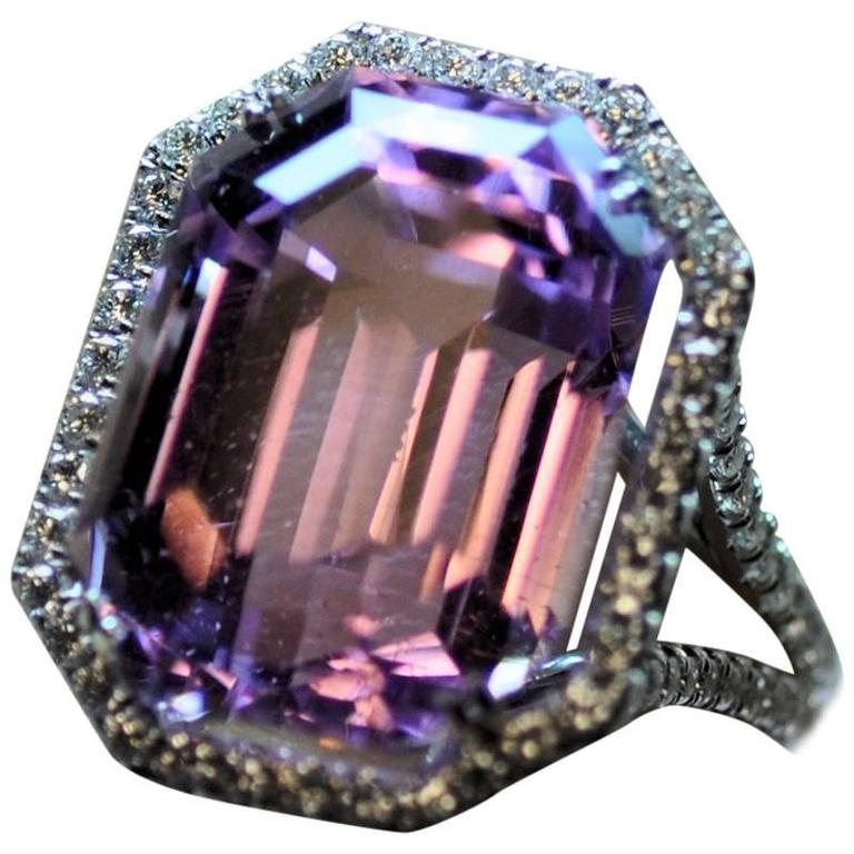 25.50 Carat Kunzite Diamond White Gold Ring 1