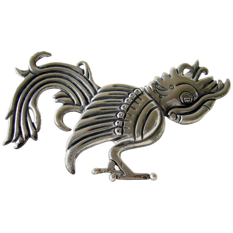 Hector Aguilar Sterling Silver Parrot Brooch For Sale
