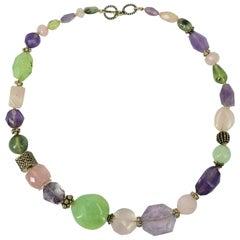 Amethyst Rose Quartz Prehnite Silver Necklace