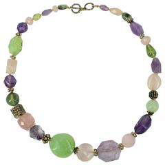 Amethyst Rose Quartz Prehnite Silver Necklace