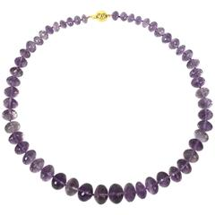 Large Faceted Pink Amethyst Faceted Roundel Gold Necklace
