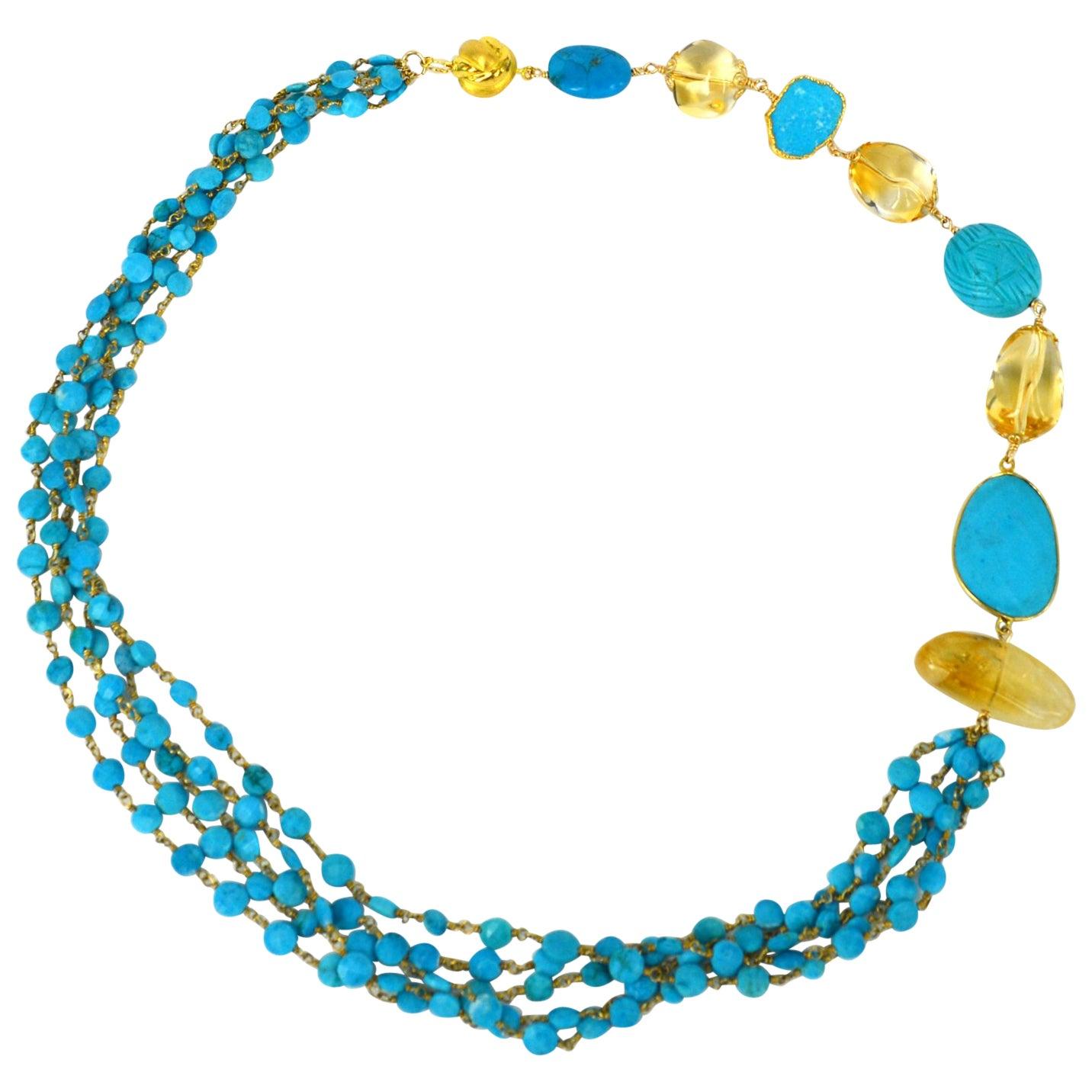 Versatile Turquoise Citrine Gold Necklace