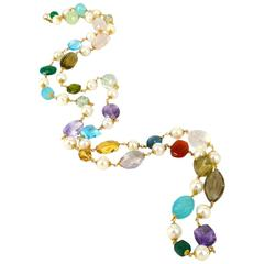 Amethyst Blue Topaz Citrine Peridot Rose Quartz Chalcedony Pearl Gold Necklace
