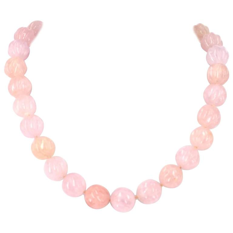Carved Morganite Beryl Silver Necklace