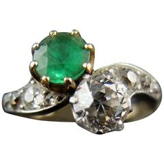 Gold Toi Et Moi Ring with Ruby Emerald and Diamonds, Early 20th Century