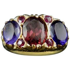 Antique French Three-Stone Ring with Garnet Amethysts and Ruby, 19th Century