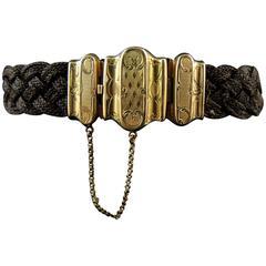 Victorian Weaved Hair Bracelet, Gold Clasp, circa 1850