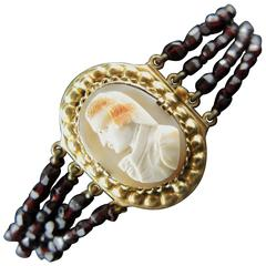 Antique French Gold Bracelet with Shell Cameo and Garnet Strands, 19th Century