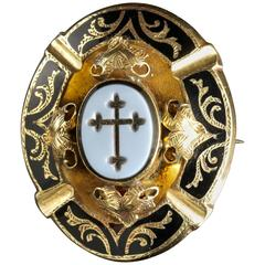 Antique Georgian Mourning Gold Brooch Hardstone Cross Seal, circa 1800