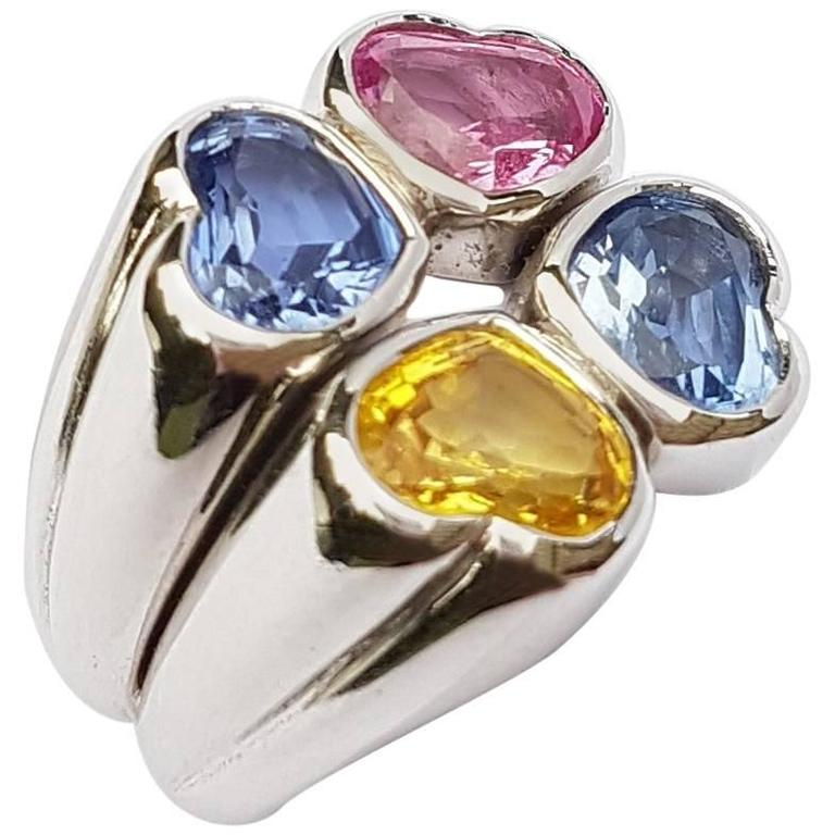Missiaglia Yellow Blue Pink Sapphire Heart Shape Cut Gold Cocktail Ring
