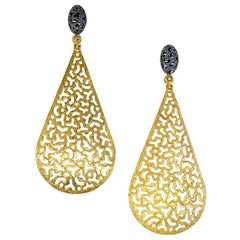 Diamond Textured Open Work Gold Drop Dangle Earrings Limited Edition Handmade