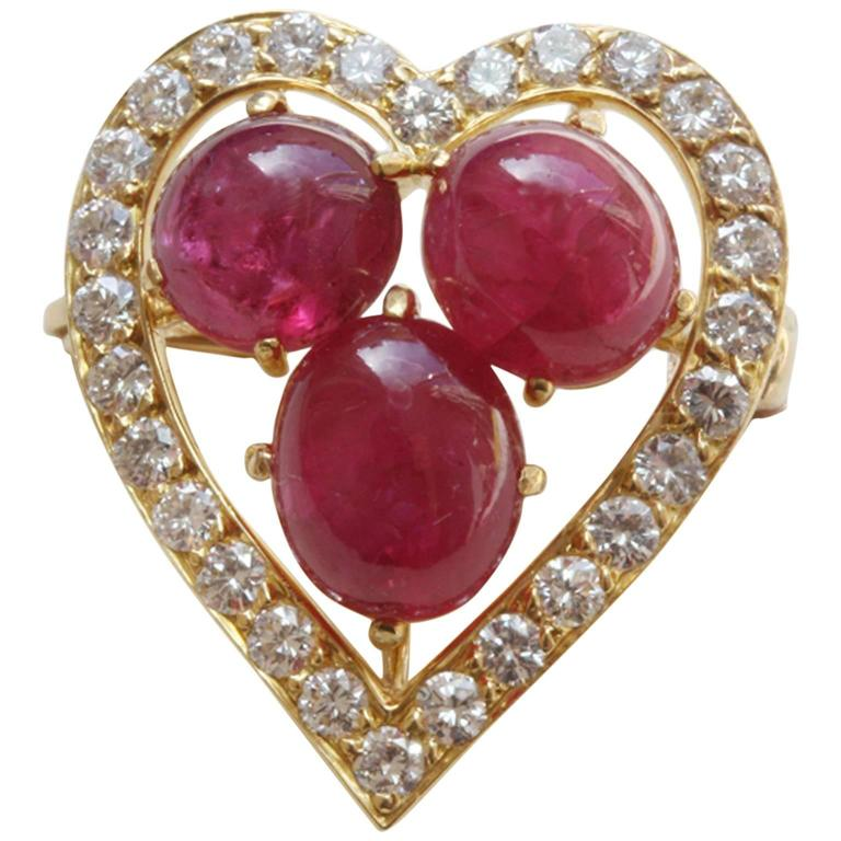 Ruby Diamond gold Heart Brooch For Sale