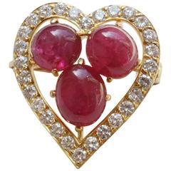 Ruby Diamond gold Heart Brooch
