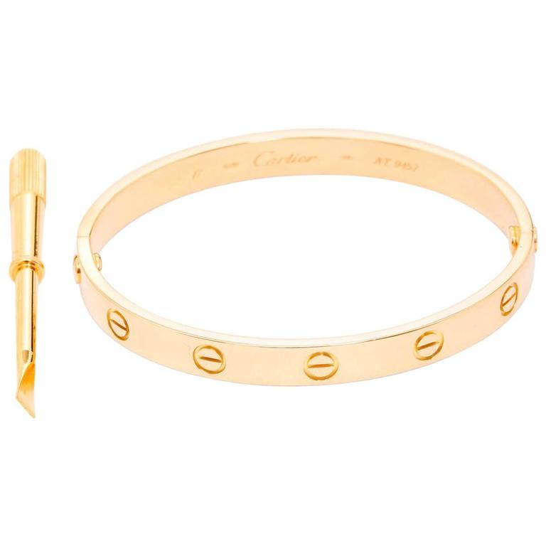 Cartier Love Bracelet Yellow Gold with Screwdriver For Sale