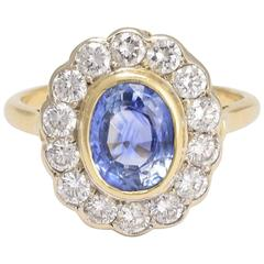 French 2.63 Carat Sapphire and Diamond Cluster Engagement Ring
