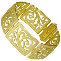 Gold Ornament Contrast Texture Link Bracelet Handmade in NYC Limited Edition