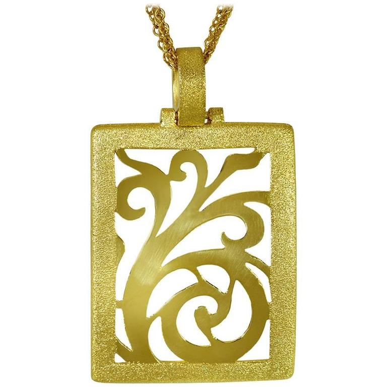 Alex Soldier Yellow Gold Contrast Texture Ornament Pendant One of a kind 1