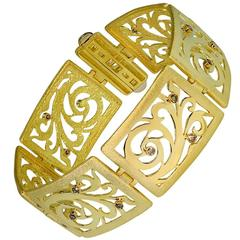 Champagne Diamonds Yellow Gold Contrast Texture Link Bracelet One of a Kind
