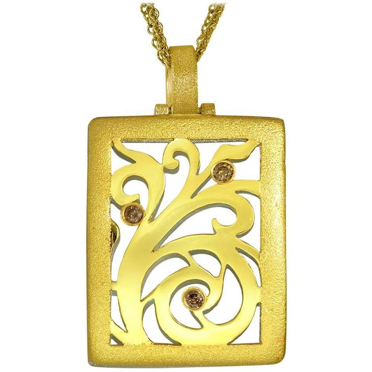 Alex Soldier Diamond Yellow Gold Contrast Texture Pendant One of a kind  For Sale