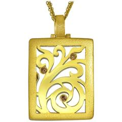 Alex Soldier Diamond Yellow Gold Contrast Texture Pendant One of a kind