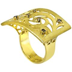 Alex Soldier Diamond Yellow Gold Ornament Contrast Texture Ring One of a kind