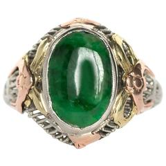 1880s Victorian 1.20 Carat Jade Yellow White and Rose Gold Engagement Ring