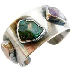 J. M. Hoffter Sterling Natural Gemstone Modernist Cuff Bracelet
