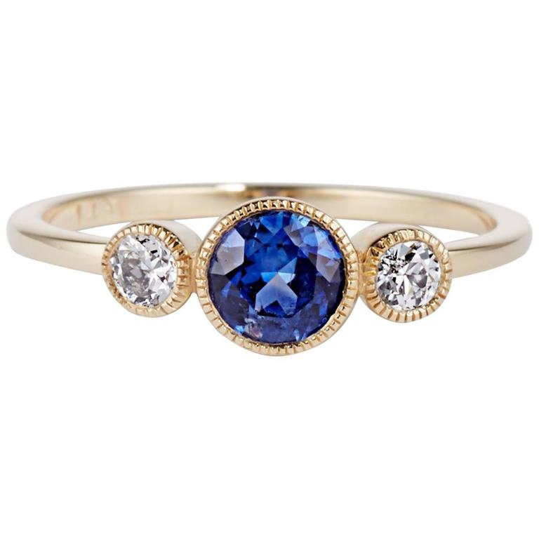 Cushla Whiting Sapphire and Diamonds set in gold 'Circles' Engagement Ring