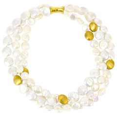 Three-Strand Coin Pearl and Gold Necklace