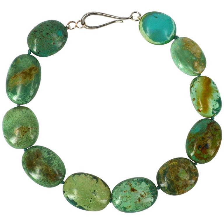 Large Green Natural Chinese Turquoise Nugget Silver Necklace For Sale