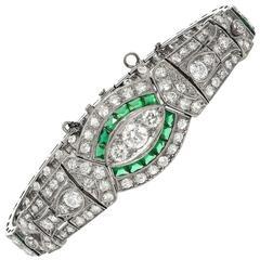 Vintage 20th Century Emerald and Diamond Bracelet