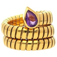 Bulgari Amethyst Yellow Gold Serpenti Ring